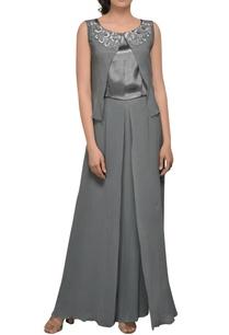grey-one-shoulder-drape-gown