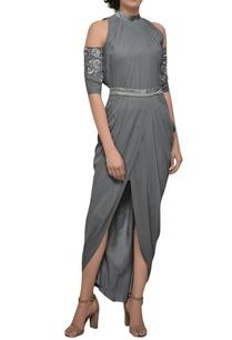grey-cold-shoulder-dress