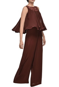 burgundy-brown-embroidered-jumpsuit