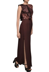 burgundy-high-slit-gown