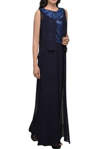 indigo-blue-double-layer-jumpsuit