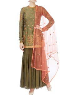 olive-green-aari-sequin-kurta-set