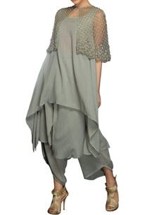 grey-pearl-bead-embellished-cape