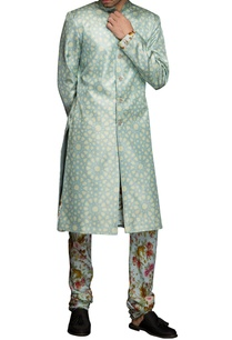 peppermint-blue-geometric-print-sherwani-set