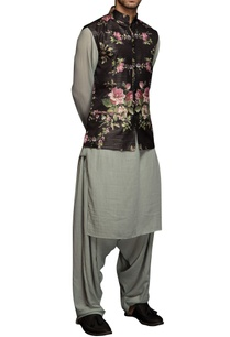 black-floral-nehru-jacket-set
