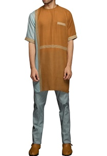 brown-blue-stripe-print-kurta