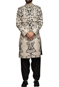 white-black-applique-embroidered-sherwani