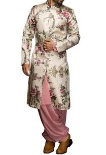 white-pink-floral-sherwani-set