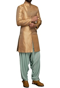 peach-brocade-sherwani-patiala-pants