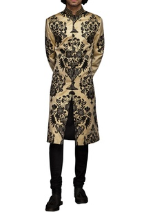 beige-black-applique-sherwani