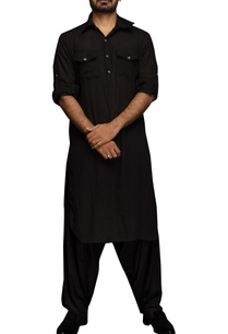 black-pathani-kurta-set
