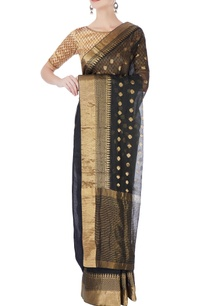 black-gold-brocade-designed-sari-blouse