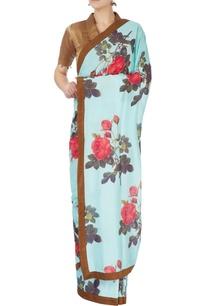 sky-blue-floral-printed-sari-blouse