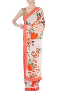 orange-floral-print-sari-blouse