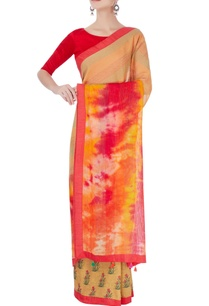 red-chiffon-sari-with-exposed-stitch-detailing-blouse