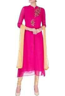 pink-bird-motif-kurta-set