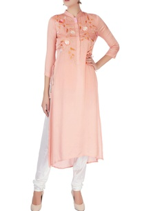 peach-kurta-with-applique-embroidery