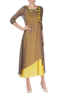 grey-yellow-embellished-kurta
