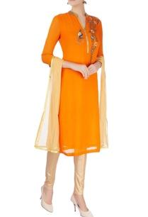orange-chanderi-silk-kurta-set