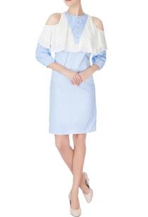 blue-white-cold-shoulder-dress