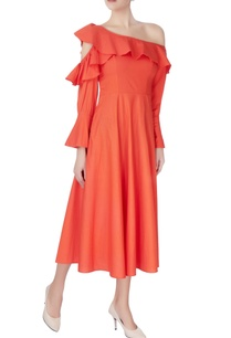 orange-one-shoulder-dress