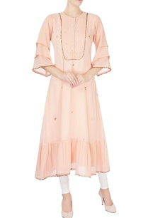 peach-badla-work-long-kurta