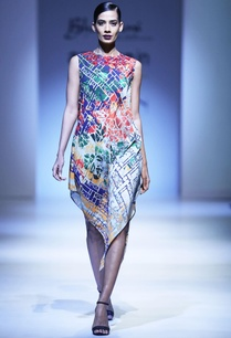 multicolored-printed-asymmetric-dress