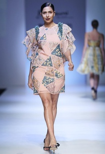 peach-patch-dress-with-exaggerated-sleeves