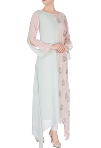 pastel-blue-pink-colour-block-kurti