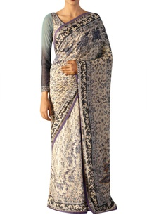 off-white-sari-with-shaded-blouse
