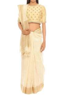 off-white-sari-with-beige-blouse