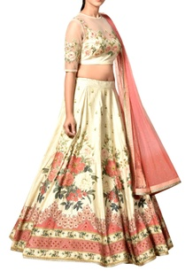 off-white-peach-lehenga-set