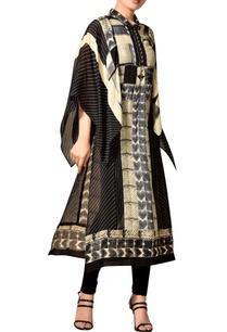 black-beige-printed-kaftan-kurta
