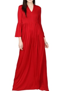 red-maxi-dress-with-bell-sleeves