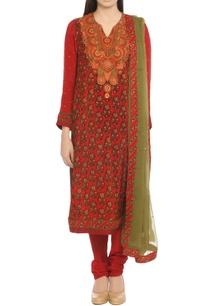red-ethnic-print-kurta-set