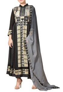 black-abstract-print-kurta-set