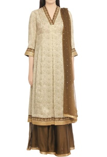 off-white-brown-embroidered-kurta