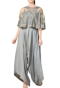 grey-embellished-cape-top-pants