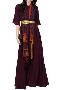 burgundy-maxi-tunic-ethnic-print-scarf