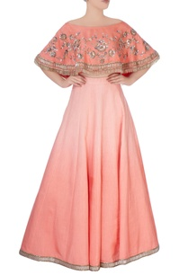 peach-lehenga-with-off-shoulder-blouse