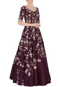 burgundy-elaborate-sequin-gown