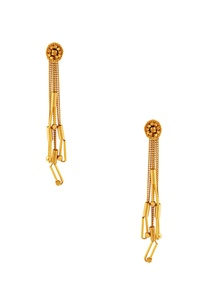 gold-circular-bead-chain-earrings