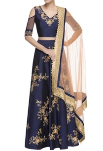blue-zari-lehenga-cold-shoulder-blouse