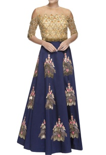 blue-lehenga-peach-tassel-blouse