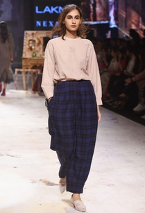 navy-blue-oversized-check-trousers