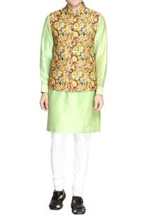 yellow-bird-print-nehru-jacket-set