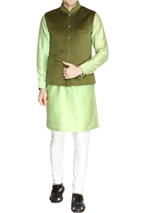 green-nehru-jacket-with-printed-buttons-set