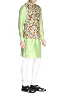 multicolored-bird-print-nehru-jacket-set