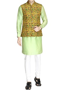 yellow-paisley-print-nehru-jacket-set