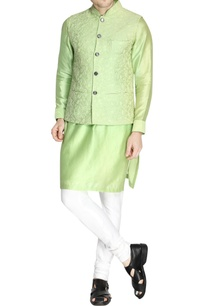 green-embroidered-nehru-jacket-set